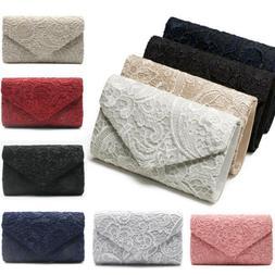 Womens Elegant Floral Lace Envelope Clutches Bags Wedding Ev