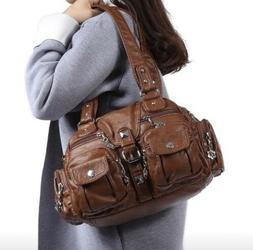womens fashion genuine large capacity black purse