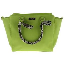 BCBG Paris Womens Green Faux Leather Satchel Handbag Purse M