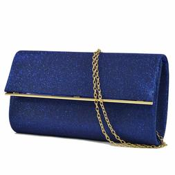 Womens Handbag Glitter Frosted Evening and Day Clutch Crossb