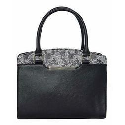 Tahari Womens Lacey Black Faux Leather Satchel Handbag Purse