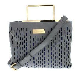 Bebe Womens Marisa Gray Faux Leather Crossbody Handbag Purse