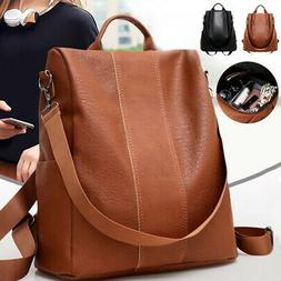 Rucksack Women Leather Backpack Handbag Anti-theft Ladies Sc