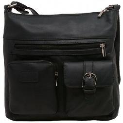 Womens Purse Genuine Leather Multi Pocket Adjustable Strap T