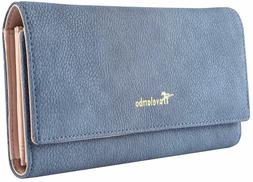 Travelambo Womens Wallet Faux Leather RFID Blocking Purse Cr