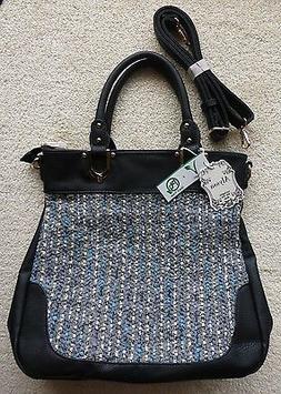 Alyssa Woven Fabric & Black Leather Purse Handbag w Detachab