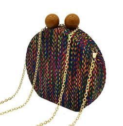 Woven Round Circular Bags for Women Evening Clutch Chain Sho